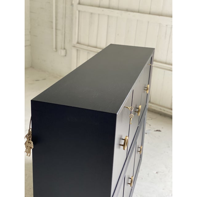 Black Mid-Century Black and Brass 2-Tiered Secretary For Sale - Image 8 of 9