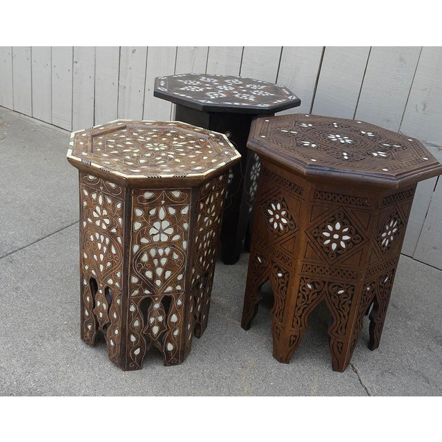 Wood Moroccan Middle Eastern Style Inlaid Side Table For Sale - Image 7 of 8