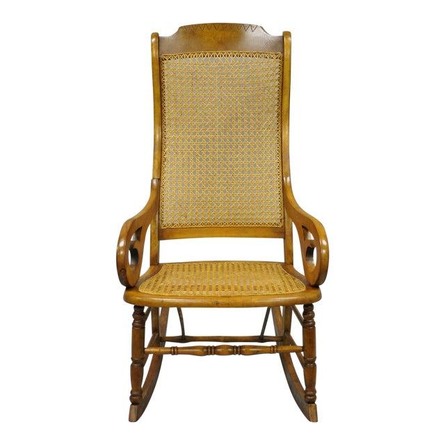 19th Century Antique Eastlake Victorian Cane & Maple Wood Primitive Rocker Rocking Chair For Sale