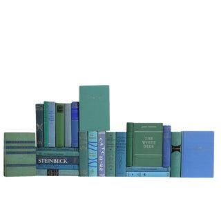 World Classics in Ocean Blue - Set of Twenty Five Decorative Books