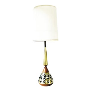 Vintage Retro Brass and Wood Genie Table Lamp C.1950's For Sale