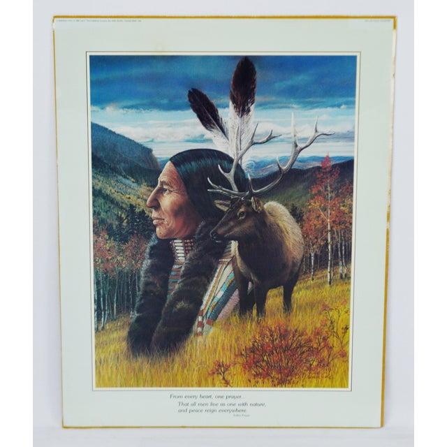 Vintage Native American Indian Print by Julie Kramer Cole Indian Prayer For Sale - Image 5 of 5