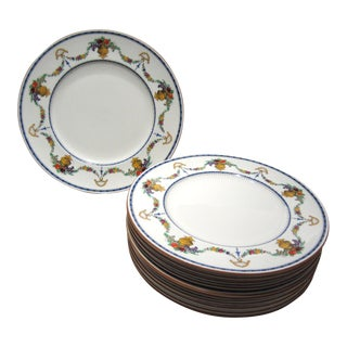 English Enameled Dinner Plates by Cauldon - Set of 10 For Sale