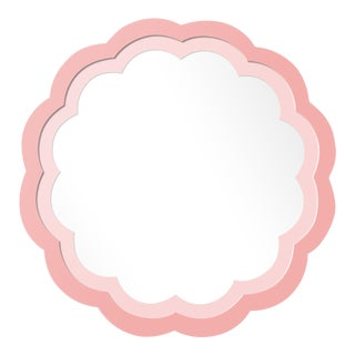 Fleur Home x Chairish Audobon Peony Circle Mirror in Pink Punch, 30x30 For Sale