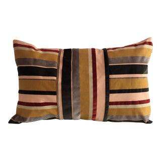 Boho Chic Lumbar Grosgrain Velvet Pillow For Sale