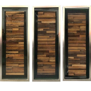 Abstract Framed Wood Chopped Block Relief Artwok - 3 Pieces For Sale