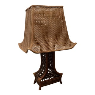 Vintage Ho Shin Bamboo & Wicker Pagoda Lamp For Sale