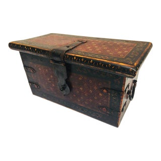 20th Century Asian Rajasthani Hand-Painted Large Decorative Coffer Trunk For Sale