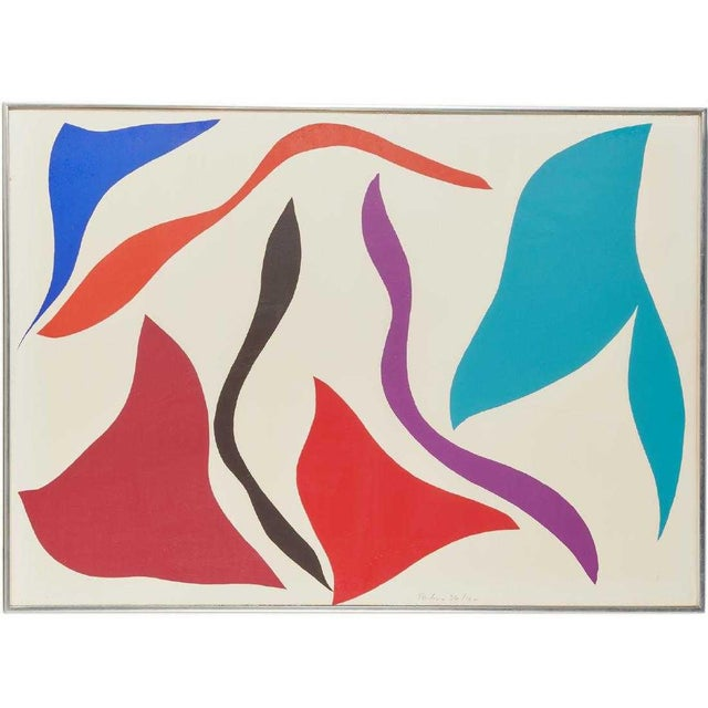 Pencil 1970s Vintage Ray Parker Large Abstract Screenprint For Sale - Image 7 of 7