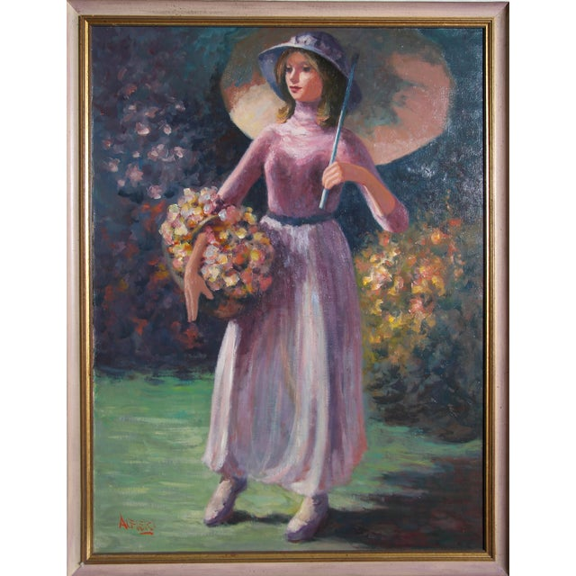 Philippe Alfieri, Woman With Flower Basket, Oil on Canvas, Signed l.l. For Sale