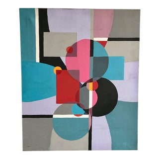 1970s Vintage Acrylic Geometric Painting For Sale