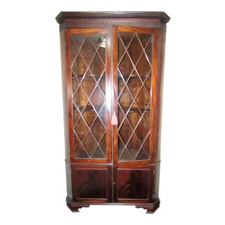 Mullion Door Corner Cabinet in Mahogany For Sale