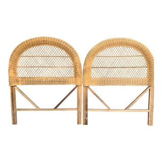 Vintage Wicker Headboards- a Pair For Sale