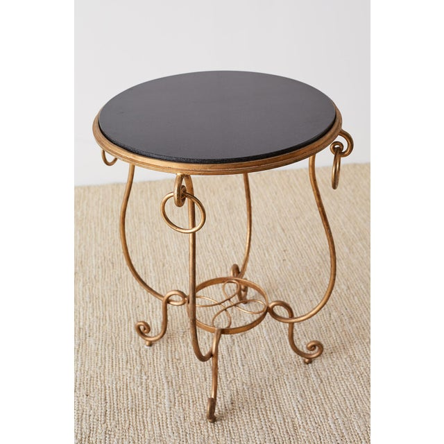Hollywood Regency Rene Drouet Style Gilded Iron and Granite Table For Sale - Image 3 of 13
