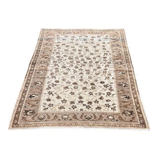 4.4 X 6.4 Ft Turkish Vintage Handmade Wool Rug Anatolian Oushak Weave Decorative Rug Antique Nomadic Tribal Hand Knotted Pastel Brown Floral Rug For Sale
