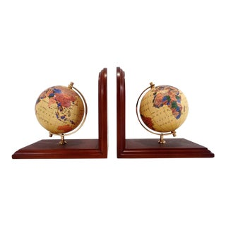 Vintage Pier One Globe Atlas Bookends For Sale