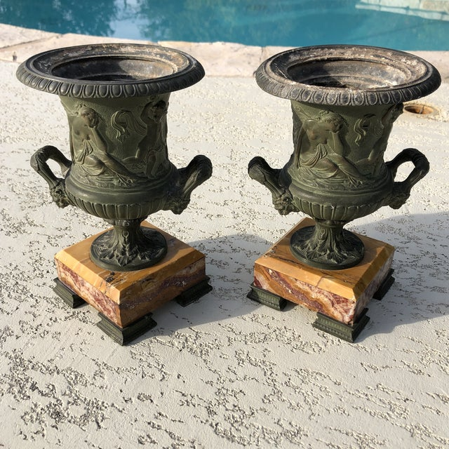 1920s Antique French Egg & Dart Victorian Marble Cast Urns- a Pair For Sale - Image 9 of 12