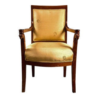 Russian Neoclassical Silk Fauteuil Armchair