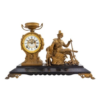 Pasargad American Mantel Clock With Figural Decoration For Sale