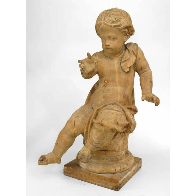 Late 18th Century 18th Century French Louis XVI Style Stripped Wood Life Size Putti - Set of 4 For Sale - Image 5 of 12