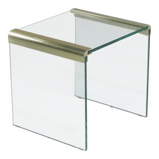 1970s Mid-Century Modern Pace Brass & Glass Waterfall Side Table For Sale