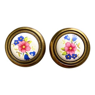 Vintage Ceramic and Brass Floral Drawer Knobs - a Pair For Sale