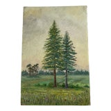 Image of Artist Study of Trees Painting on Board For Sale