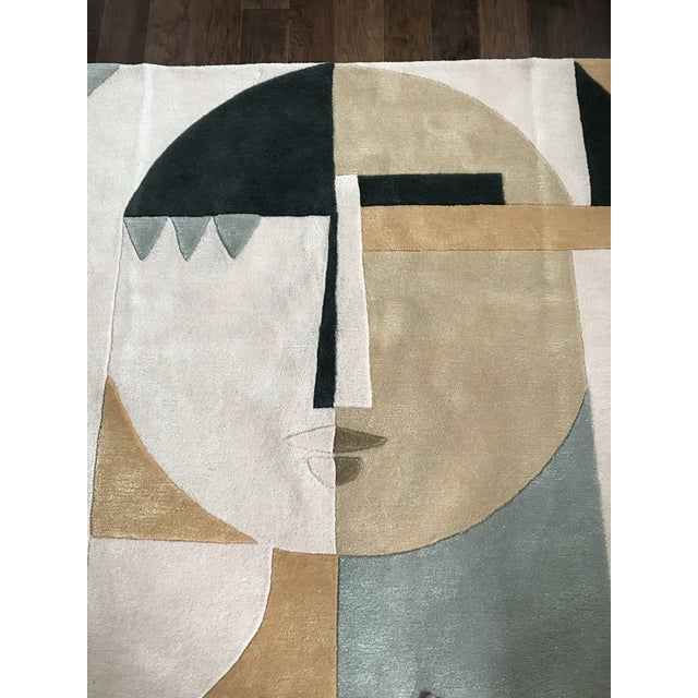 Textile Custom Modern Abstract Wool Female Face Hi Low Pile Rug 5' X 7' For Sale - Image 7 of 8