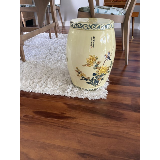 Vintage Yellow Hand Painted Glazed Garden Stool For Sale In Tampa - Image 6 of 8