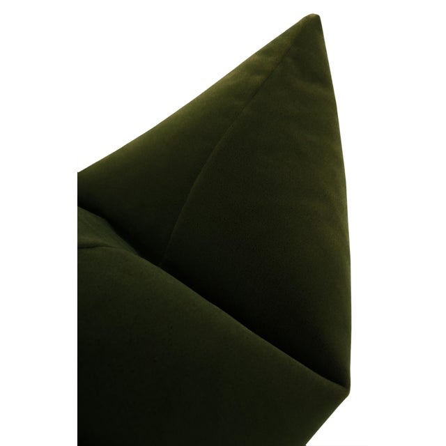 "22"" Olive Mohair Velvet Pillows - a Pair For Sale - Image 4 of 5"