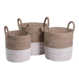 Oia Natural & White Seagrass Baskets from Kenneth Ludwig Chicago - Set of 3 For Sale
