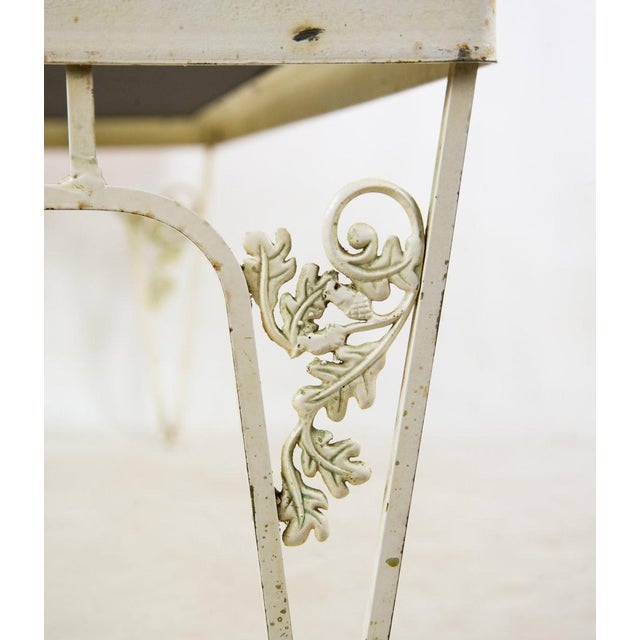 Hollywood Regency Orange and White Iron Benches - a Pair For Sale - Image 10 of 13