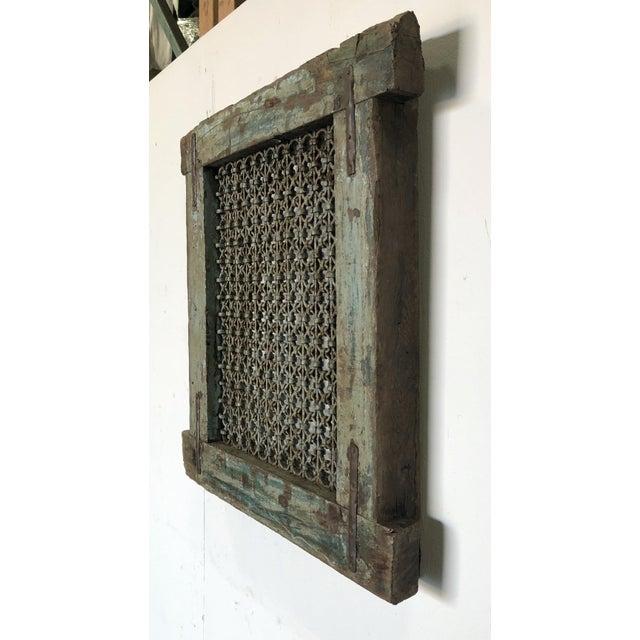 Islamic Antique Wood & Iron Ventilation Window For Sale - Image 3 of 6