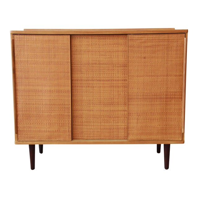 Edward Wormley for Dunbar Woven Front Cabinet For Sale