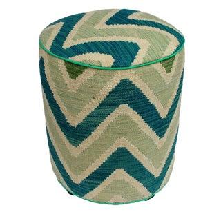 Arshs Delila Ivory/Green Kilim Upholstered Handmade Ottoman For Sale