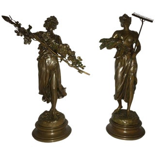 Pair of 19th/20th Century Bronze Figures Bare Breasted Female Gardeners For Sale