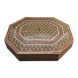 1980s Octagonal Inlaid Khatam Marquetry Persian Lidded Box with Red Felt Interior For Sale
