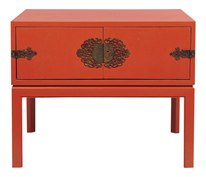 Red Lacquered Hollywood Regency Side Table