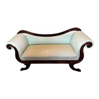Continental Neoclassical Inlaid Mahogany Scroll Arm Sofa For Sale