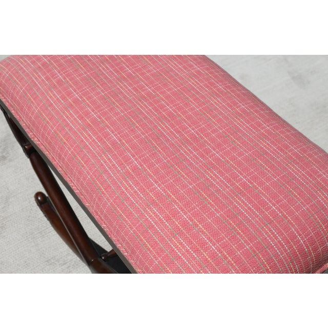 Carved Wood Sword Leg Bench With Pink Upholstery For Sale In Tampa - Image 6 of 7