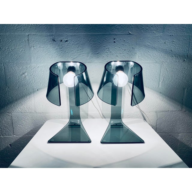 Pair of L'astra Smoked Gray Glass Table or Desk Lamps by Fiam Italia For Sale - Image 10 of 13