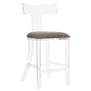 Tristan Klismos Counter Stool - Gray Velvet For Sale