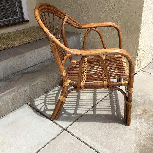 Vintage Boho Rattan & Bamboo Armchair - Image 4 of 8