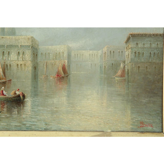 British Grand Canal Venice Antique Oil Paintings by James Salt - a Pair For Sale - Image 9 of 11