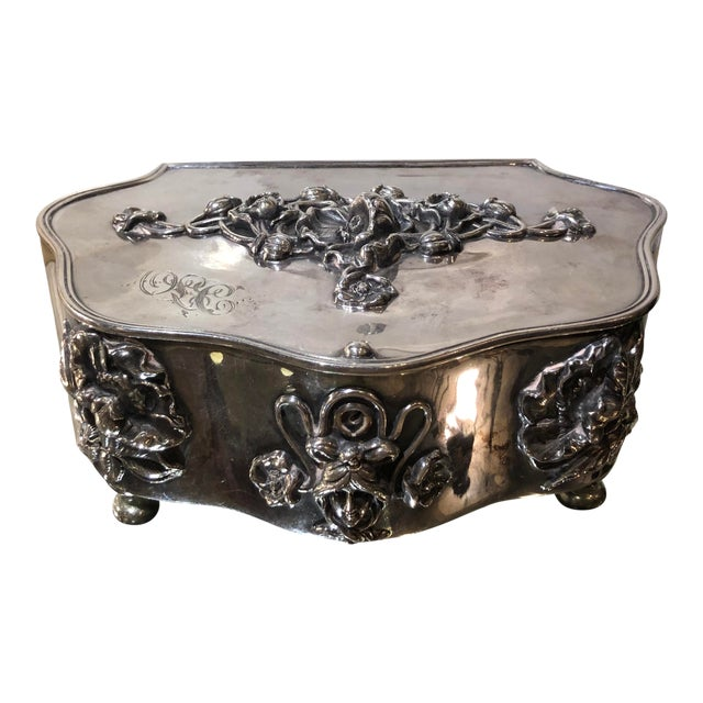Antique Art Nouveau French Silverplate Jewelry Box W Pink Satin Interior For Sale