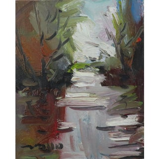 Contemporary Winter River Landscape Oil Painting by Jose Trujillo For Sale