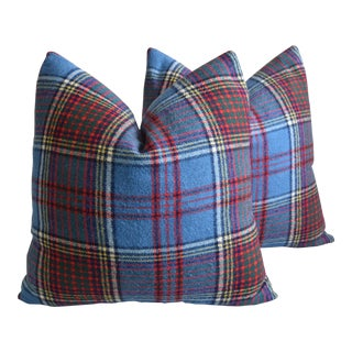 "Scottish Tartan Plaid Wool Feather/Down Pillows 26"" Square - Pair For Sale"