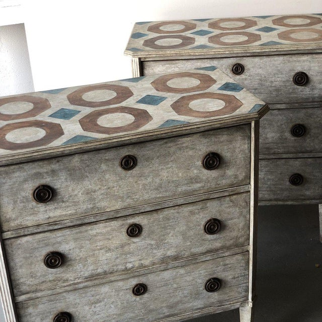 Pair of Painted Swedish Floored Chests A Get The Gusto signature. A pair of 1950's Swedish chests brought back to life....