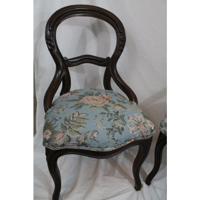 Late 19th Century Antique Blue Needlepoint Chairs - A Pair For Sale - Image 5 of 10