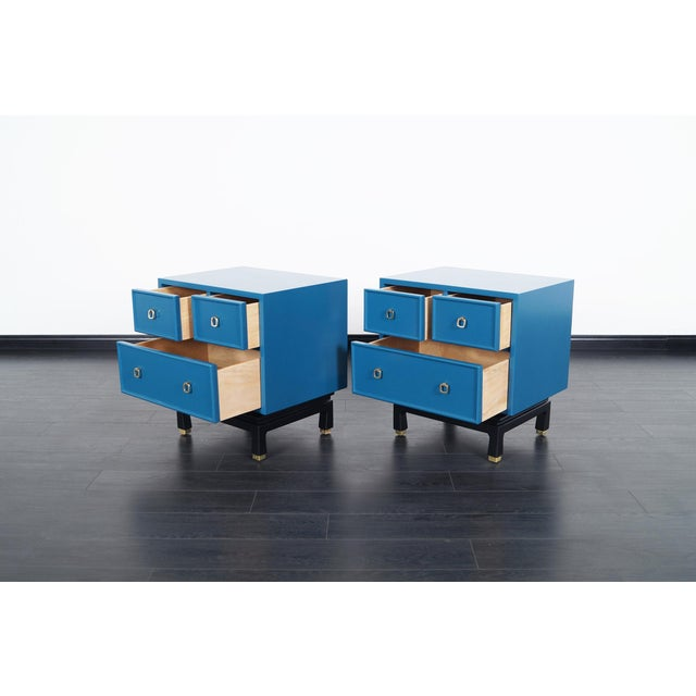 Danish Modern Vintage Lacquered Nightstands by American of Martinsville For Sale - Image 3 of 8